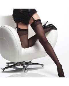 Sheer Thigh Hi w/ Back Seam - Black - OS/XL