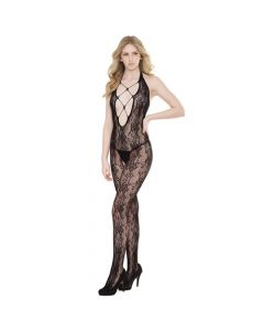 Crotchless Halter Lace Seamless Stretch Body Stocking - Black One Size