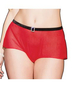 High Waisted Black and Red Rhinestone Panty - One Size