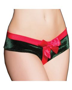 Crotchless Green and Red Present Panty - One Size