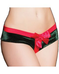 Crotchless Green and Red Present Panty - OS/XL