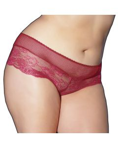 Scalloped Red Lace-up Back Booty Short Panty - OS/XL