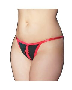 Stretch Velvet Green and Red Crotchless Panty - OS/XL