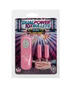 10 Function Power Dual Bullets - Slim - Pink