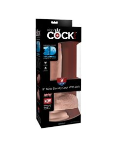 "King Cock Triple Density 9"" Cock with Balls - Flesh"