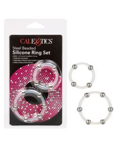 Steel Beaded Large Silicone Ring Set - Clear