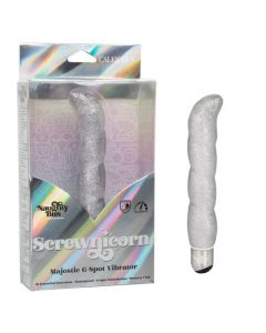 Naughty Bits 10 Function Screwnicorn Waterproof G-Spot Vibrator - Silver