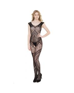 Crotchless Patchwork Seamless Stretch Body Stocking - Black One Size