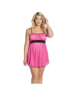 Criss Cross Baby Doll & G-String - Fuchsia/Black OS/XL