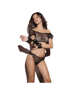 Lace Crop Top & Cuffs Set W/ Ruched Thong - Black One Size