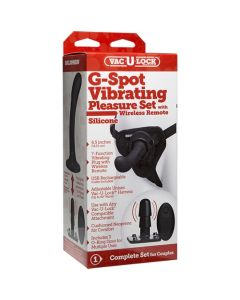 G-spot Silicone Strap-on Set with Wireless 7 Function Vibrating Vac-U-Lock Plug - Black