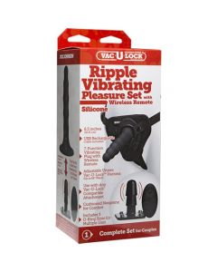 Ripple Silicone Strap-on Set with Wireless 7 Function Vibrating Vac-U-Lock Plug - Black