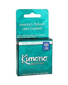 Kimono MicroThin Aqua Lube Condoms - 3 pk