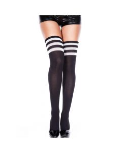 Athlete thigh Hi with Striped Top Blk/Wht O/S