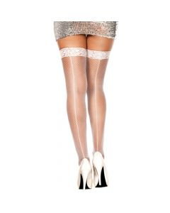 Lace Top Fishnet Thigh Hi w/ Backseam -White