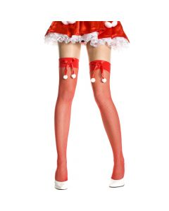 Fishnet Thigh Hi with Snowball Bow Details - Red/White - O/S