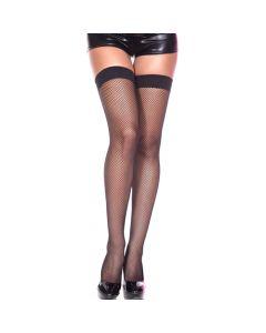 Spandex Fishnet Thigh Hi - Black - Queen