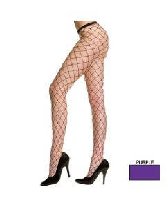 Spandex Big Diamond Net Seamless Pantyhose - Purple