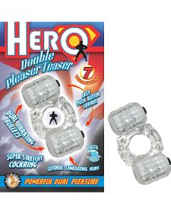 Hero Double Pleasure Teaser 7 Function Dual Vibrating Cock Ring - Clear