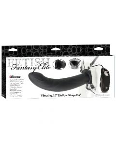 "Fetish Fantasy Elite - Vibrating 10"" Hollow Strap-On - Black"