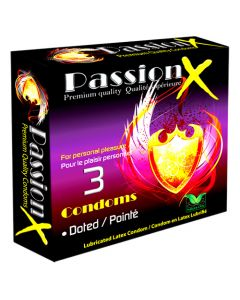 Passion x Lubricated Latex 3 Pk Dotted Condoms