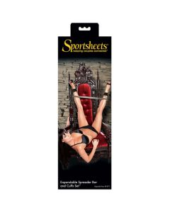 S&M Expandable Spreader Bar and Cuffs Set - Black