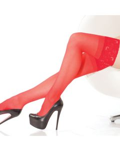 Sheer Lace Top Thigh Hi - Red - O/S