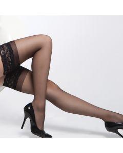 Sheer Lace Top Thigh Hi - Black - OS/XL