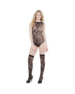 Organic Print Sleeveless Teddy With Stockings - Black One Size