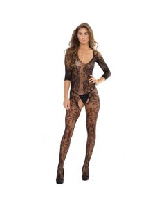 Crotchless Lace Print Seamless Stretch Body Stocking - Black One Size