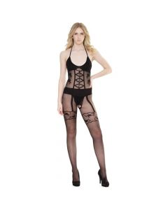 Faux Lace Up Crotchless Body Stocking - Black One Size