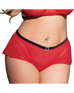 High Waisted Black and Red Rhinestone Panty - OS/XL