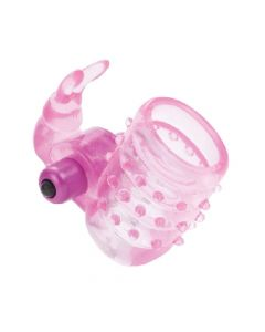 Basic Essentials - Stretchy Vibrating Bunny Enhancer - Pink