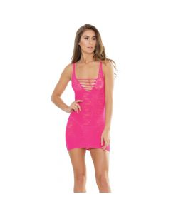 Lace Net Seamless Stretch Dress - Neon Pink One Size