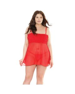 Sheer Ruffle Babydoll - Red OS/XL
