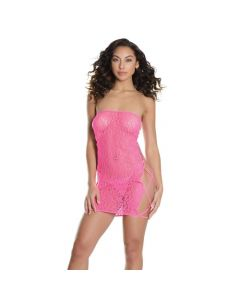 Reversible Strapless Criss Cross Tube Dress - Neon Pink One Size