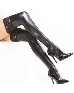 Wet Look w/ Garter Belt Thigh Hi Stockings w/ Silicone Grips - Black - XL
