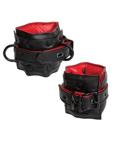 Kink - Leather Ankle Restraints - Black and Red