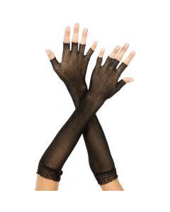 Fingerless Fishnet Arm Warmers w/ Lace - Black - O/S