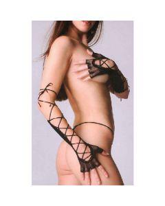 Fingerless Lace Up Fishnet Elbow Length Warmer - Black