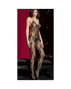 Stretch Lace Crotchless Cut Out Back Bodystocking - Black - O/S