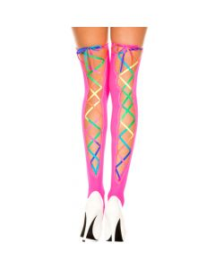 Rainbow Ribbon Lacing Neon Pink Opaque Stocking thigh Hi - O/S