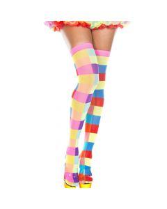 Neon Color Rectangle Checker Thigh Hi - O/S