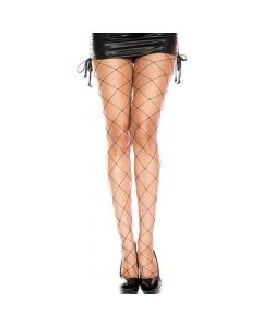 Seamless Spandex Big Diamond Net Pantyhose - Black