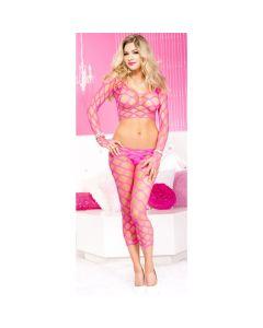 Spandex Multi Fence Net Long Sleeved Top & Capri Set - Hot Pink