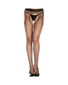 Seamless Fishnet Lace Top Suspender Pantyhose - Black