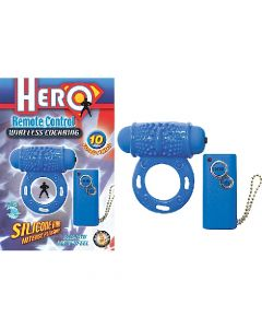 Hero Remote Control Wireless Cock Ring - Blue