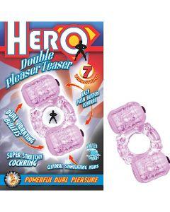 Hero Double Pleasure Teaser 7 Function Dual Vibrating Cock Ring - Purple
