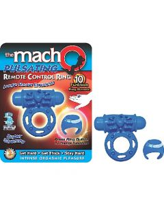 The Macho Pulsating Remote Control Cock Ring/Bullet - Blue