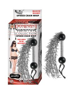 Spiked Chain Whip Dominant Submissive Collection - Silver